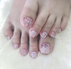 Get OFF first purchase with Ultamate Rewards Credit Card. Don& miss out! Pretty Toe Nails, Cute Toe Nails, Gem Nails, Diamond Nails, Pedicure Nail Art, Toe Nail Art, Champagne Nails, Bride Nails, Luxury Nails