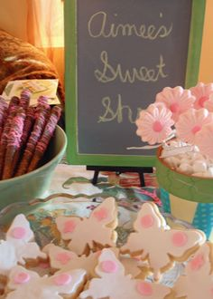 Shabby Chic Dessert Bar - butterfly cookies, flower candy pops and dipped pretzel sticks