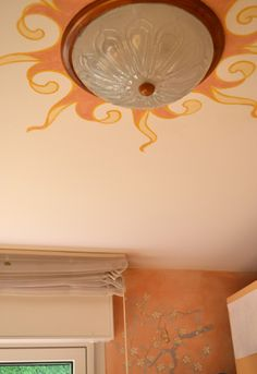 ceiling room with sun and Japanese branch on the wall,  by Rosso Sinopia 2012