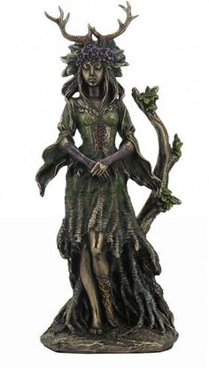 Guardian Goddess Of The Trees Sculpture / Mythology Ancient Bronze Finish / Home Decor Goddess Statue / Gaia Goddess, Celtic Goddess, Celtic Mythology, Goddess Symbols, Druid Symbols, Celtic Symbols, Pagan Altar, Triple Goddess, Divine Feminine