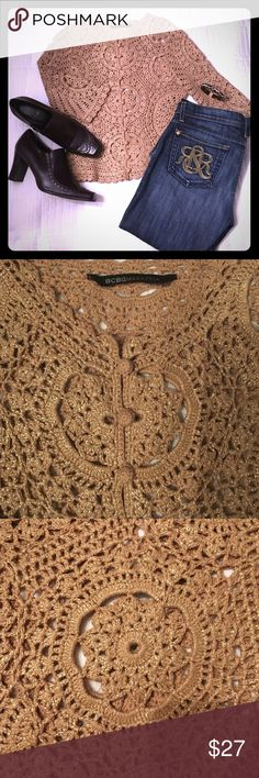 """BOGO❣LIKE NEW BCBGMAXAZRIA Gold Washed Cardigan❣ Crochet glam! Not mutually exclusive terms in the case of this ✨WOW✨ of a sweater jacket. High-quality crochet is perfectly matched throughout; scalloped hem and neckline--plus crocheted buttons--will appeal to the girly girl in you. 3/4 length sleeves, 18"""" long; 15.5"""" armpit-to-armpit; 19"""" long. No size tag, but fits like an XS. BCBGMaxAzria Tops"""