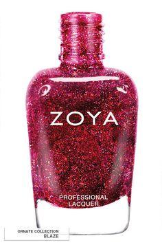 Collection Winter ORNATE 2012 - 2013 : Blaze. Vernis écologique rouge intense gorgé de micro-paillettes holographiques. #zoya