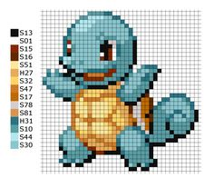 This is the pattern I used to make the Pokemon Squirtle H = Hama Beads A = Artkal Beads