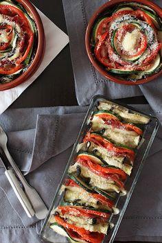 Lasaña de verduras con jamón
