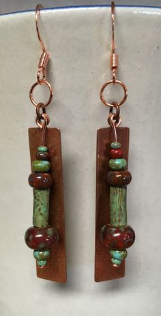 Czech Picasso copper  earrings.