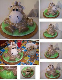 Stuffed Giraffe Birthday Cake. when I have a baby, they're definitely having giraffe stuff!