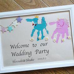 #手相アート#ウェルカムボード#手形アート 妹さんが明日ご結婚されるので作りました☆ ギリギリ… このまま家に飾りたい!