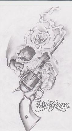 rose and skull and gun
