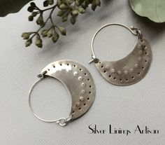 Sterling Silver, Hoop Earrings, Tribal, Hand Forged, Textured Hoops, Contemporary, Crescent, Artisan Jewelry by SilverLiningsArtisan on Etsy