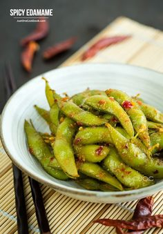 Spicy Edamame - Fiery and spicy edamame beans saut ed with chili paste garlic and miso It s intensely delicious You won t be able to stop eating these Easy Japanese Recipes at Easy Japanese Recipes, Japanese Dishes, Japanese Food, Asian Recipes, Vegetable Recipes, Vegetarian Recipes, Cooking Recipes, Healthy Recipes, Veggie Food