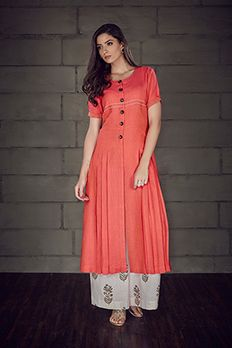 Jacket style kurta highlighted with thread work and wooden buttons from #Benzer #Benzerworld #Kurti #OrangeDelight
