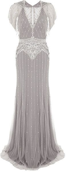 Jenny Packham All-Over Bead and Sequin Embellishment Gown
