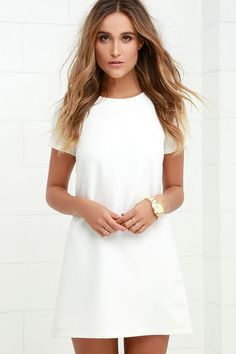 Chic Ivory Dress - Shift Dress - Short Sleeve Dress - $44.00
