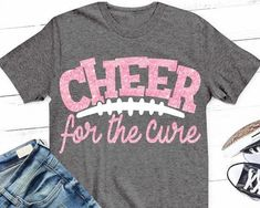 e78ef3759e5 Breast Cancer svg, cheer for the cure svg, SVG, DxF, pink out, pink, cheer,  football svg, team, shirt, cheerleader, breast cancer, ...