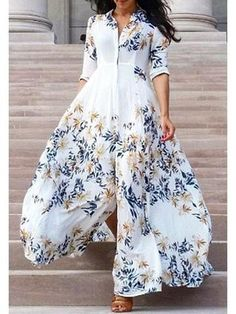Floral Chiffon Boho Deep V neck backless Dress – Stylnbo Maxi Shirt Dress, Maxi Dress With Sleeves, Dress Skirt, Short Beach Dresses, Sexy Dresses, Summer Dresses, Casual Dresses, Modest Fashion, Fashion Dresses