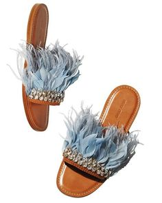 Miu Miu Jeweled Feather Mule Slide Sandal $970.00