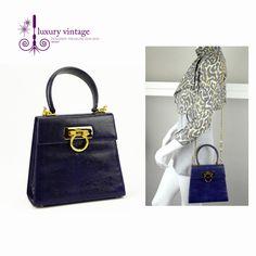 2deb2c25a7c S.Ferragamo Vintage Purple Blue Lizard Skin With Gold Hardware Good  Condition Ref.code-(GTYC-1)