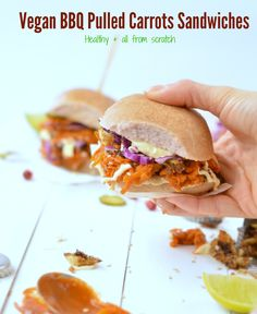 All from Scratch ! A Vegan BBQ Pulled Carrots Sandwiches includes tahini lime sauce and BBQ sauce recipe. A perfect healthy post christmas recipe. Sauce Recipes, Vegan Recipes, Veggie Sandwich, Healthy Sandwiches, No Sugar Foods, Xmas Ideas, Tahini, Blood Sugar, Vegan Dinners