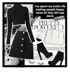 """Black & White"" by infantilejoy ❤ liked on Polyvore featuring Miu Miu, Balmain, Casadei, French Connection, Clé de Peau Beauté, Giorgio Armani and Velour Lashes"