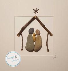 Etsy Christmas, Christmas Nativity, Christmas Art, Xmas, Sea Glass Crafts, Sea Glass Art, Stone Crafts, Rock Crafts, Copper Wire Fairy Lights