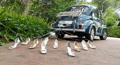 It used to be custom to tie his and her shoes, as well as noisy empty cans behind the couple's car, which would cause quite a rattle as the newly weds drove off to their honeymoon.