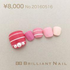 ブリリアントコレクション2016年5月号#16 Pretty Toe Nails, Cute Toe Nails, Cute Nail Art, Fancy Nails, Pink Nails, Pedicure Designs, Toe Nail Designs, Bridal Toe Nails, Beach Holiday Nails