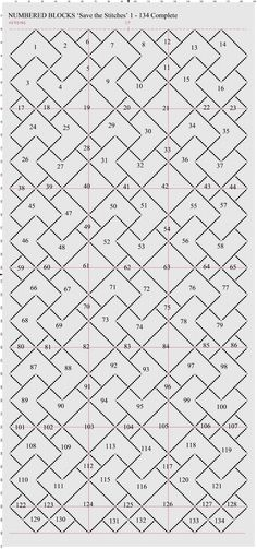 'Save the Stitches' Numbered Master Sheet. Free project by Liz Almond www.blackworkjourney.co.uk