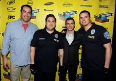 """Austin, TX - March 12 2012: L-r, Rob Riggle, Jonah Hill, Dave Franco and Channing Tatum on the red carpet of the SXSW screening of Columbia Pictures' """"21 Jump Street,"""" at The Paramount Theater. © 2012 Columbia TriStar Marketing Group, Inc. All Rights Reserved."""