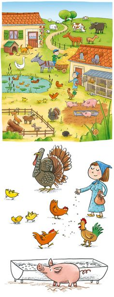 Speaking prompt: use this picture to get kids talking about the farm and farm animals in French. French Pictures, Hidden Pictures, Teaching French, Teaching English, Learning Spanish, Kids Learning, Edition Jeunesse, Farm Unit, Farm Activities