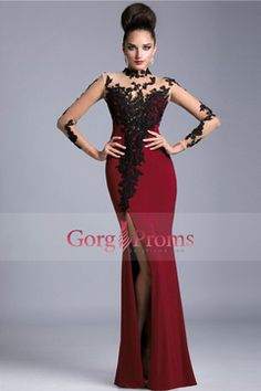 2016 Burgundy Maroon High Neck Prom Dresses Spandex With Applique Long  Sleeves US  199.99 5adc6eff0d5a