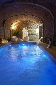 Mediterranean swimming pool grotto.....