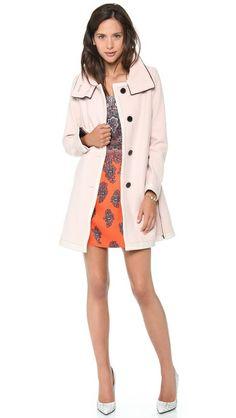 Pink Club Monaco Stella Coat with Haircalf Collar