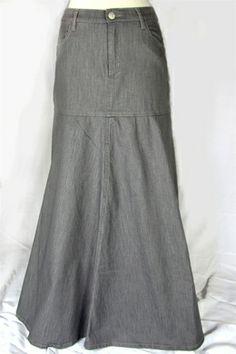 London Mist Long Gray Denim Skirt 39 long