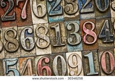 A selection of vintage and colorful letterpress numbers