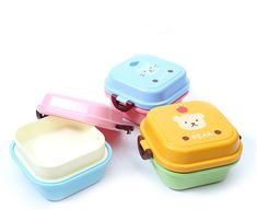Cute Cartoon Bear Paws Box Food Container Storage Box Portable Kids Bowl Plate