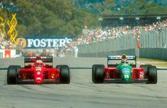 #2 Nigel Mansell...Scuderia Ferrari SpA...Ferrari 641...Motor Ferrari 036 V12 3.5...#20 Nelson Piquet...Benetton Formula Ltd....Benetton B190...Motor Ford Cosworth HB V8 3.5...GP Australia 1990