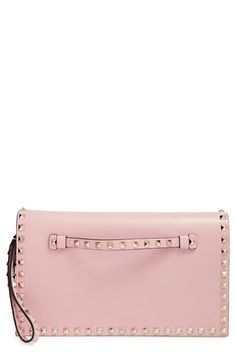 ff62b458206 Valentino 'Large Rockstud' Leather Flap Clutch available at #Nordstrom Valentino  Rockstud, Soft