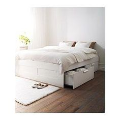 "BRIMNES Bed frame with storage - Queen, Luröy - IKEA  18 1/2"" H  BRUCES ROOM - GBD"