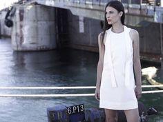 SIKINOS round neckline strap dress in ivory silk dupion #zeusndione