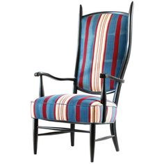 Black Painted Spanish High Back Chair Upholstered in African Fabric 1