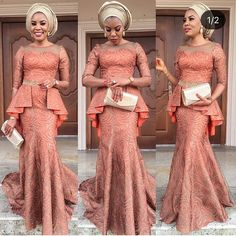 Latest Aso Ebi Styles For the Weekend Lace Dress Styles, African Lace Dresses, African Fashion Dresses, Nigerian Lace Styles, Nigerian Traditional Wedding, African Wedding Attire, Latest Aso Ebi Styles, Africa Dress, Beautiful Long Dresses
