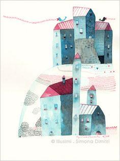 """watercolour """"un canto che vola lontano"""", via Flickr."""