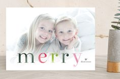 """Colorfully Merry"" - Bold typographic, Full-Bleed Photo Holiday Photo Cards in Pine by Melanie Severin."
