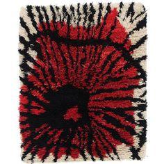 "Viola Gråsten matta rya ""Snurran"" 160 x 130 cm NK:s Textilkammare Sverige Textile Design, Textile Art, Rya Rug, Weaving Textiles, Fiber Art, Mid Century, Floor, Rugs, Retro"