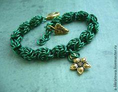 """Браслет """"Лес фей"""" - зелёный,изумрудный,лес,фея,цветок,лист,сказочный,подарок девушке женщине"""
