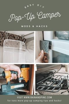 Easy DIY pop-up camper mods and hacks - how to add storage to a camper trailer, how to create storage for a rug with a pipe on the bumper, how to inst. Tent Trailer Camping, Pop Up Camper Trailer, Camper Trailers, Trailer Diy, Truck Camper, Trailer Storage, Camper Storage, Storage Hacks, Diy Storage