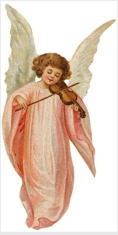 victorian die cut - angel pink gown violin
