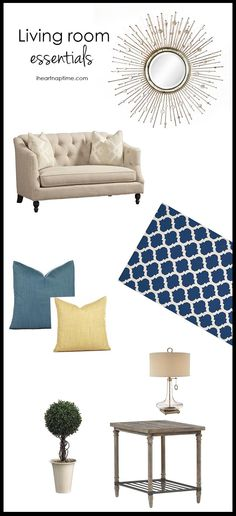 Living room essentials -a great couch, large area rug, wall decor, pillows and end tables!