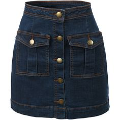 LE3NO Womens Vintage Denim A-Line Button Down Mini Skirt (€21) ❤ liked on Polyvore featuring skirts, mini skirts, bottoms, short denim skirts, vintage a line skirt, blue mini skirt, button-front denim skirts and vintage skirts
