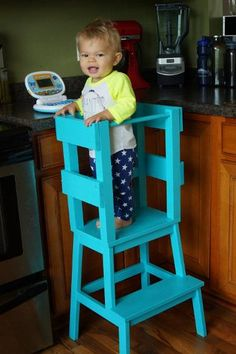 Rather than purchase a $200+ learning tower for her toddler, this blogger created one from the $15 BEKVÄM stool.